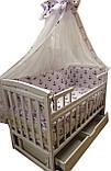 """Комплект """"Карапуз с комодом 3+2 белый"""". Комод + кроватка маятник Карапуз белая +матрас кокос+постель, фото 8"""