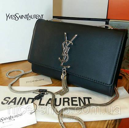 Сумочка-клатч брендовый черный, фурнитура серебро, в коробке, фото 2