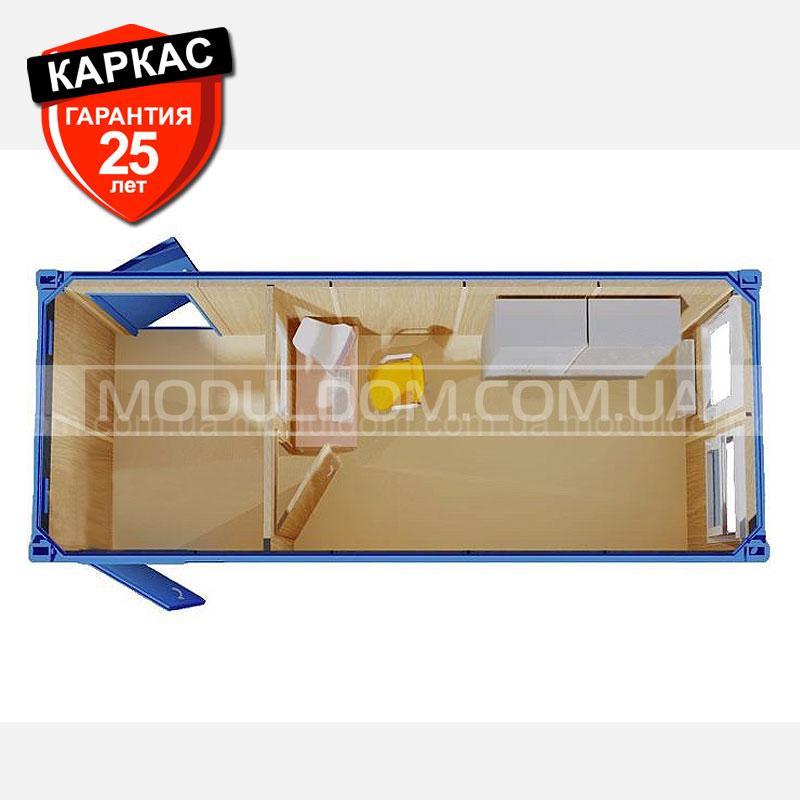Блок-контейнер ЗИМА (6 х 2.4 м.), утепление базальт, тамбур, на основе цельно-сварного металлокаркаса.