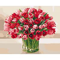 """Живопись по цифрам - Цветы """"Жгучие тюльпаны"""" 40*50см"""