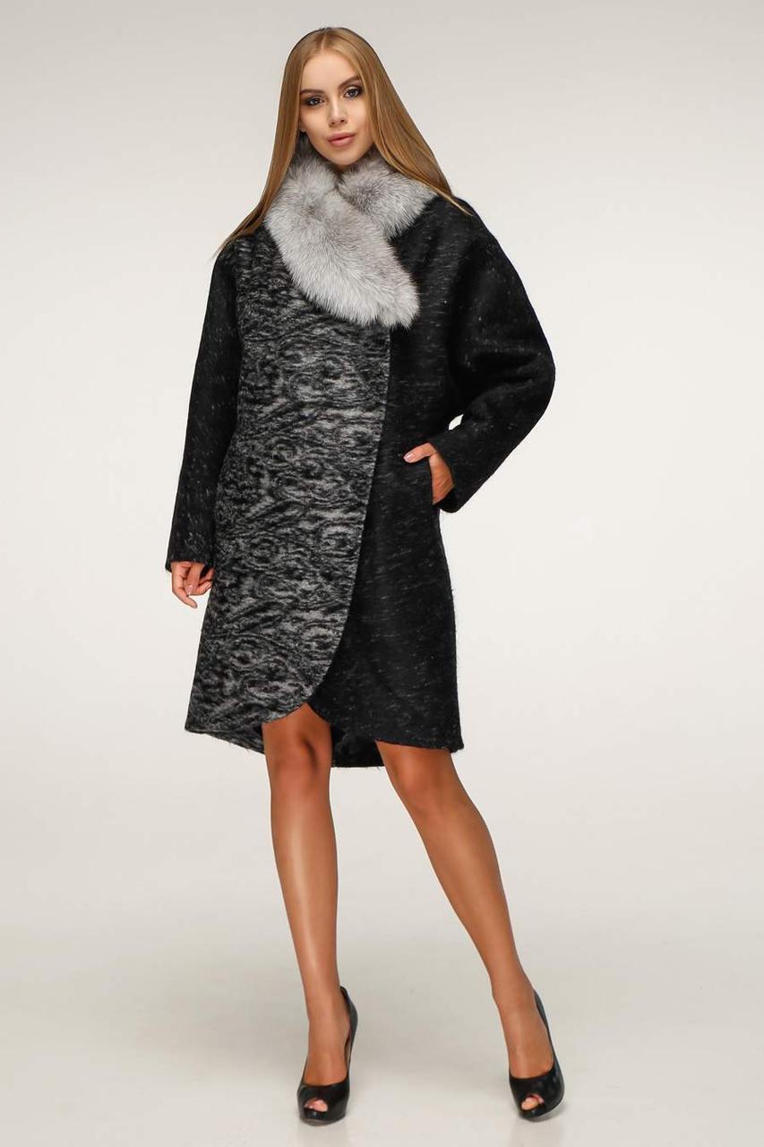 Пальто женское зимнее П-1212 н/м Сashimire Тон 4 | 44-58р. натуральный мех