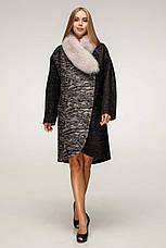 Пальто женское зимнее П-1212 н/м Сashimire Тон 4 | 44-58р. натуральный мех, фото 3