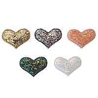 """Патчи """"Сердце, сердца"""" с крупным глиттером из экокожи (кожзама) 3,8 см 1 шт (цвет на выбор)"""