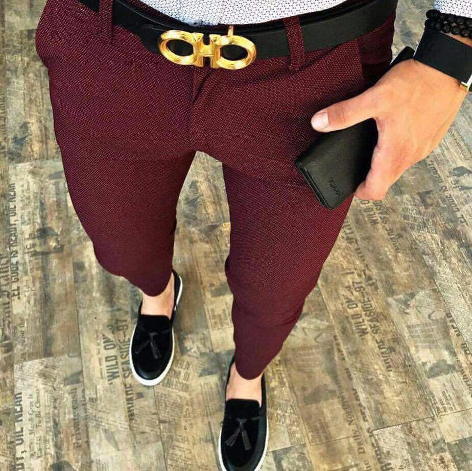 Мужские брюки зауженные бордовые ZB8