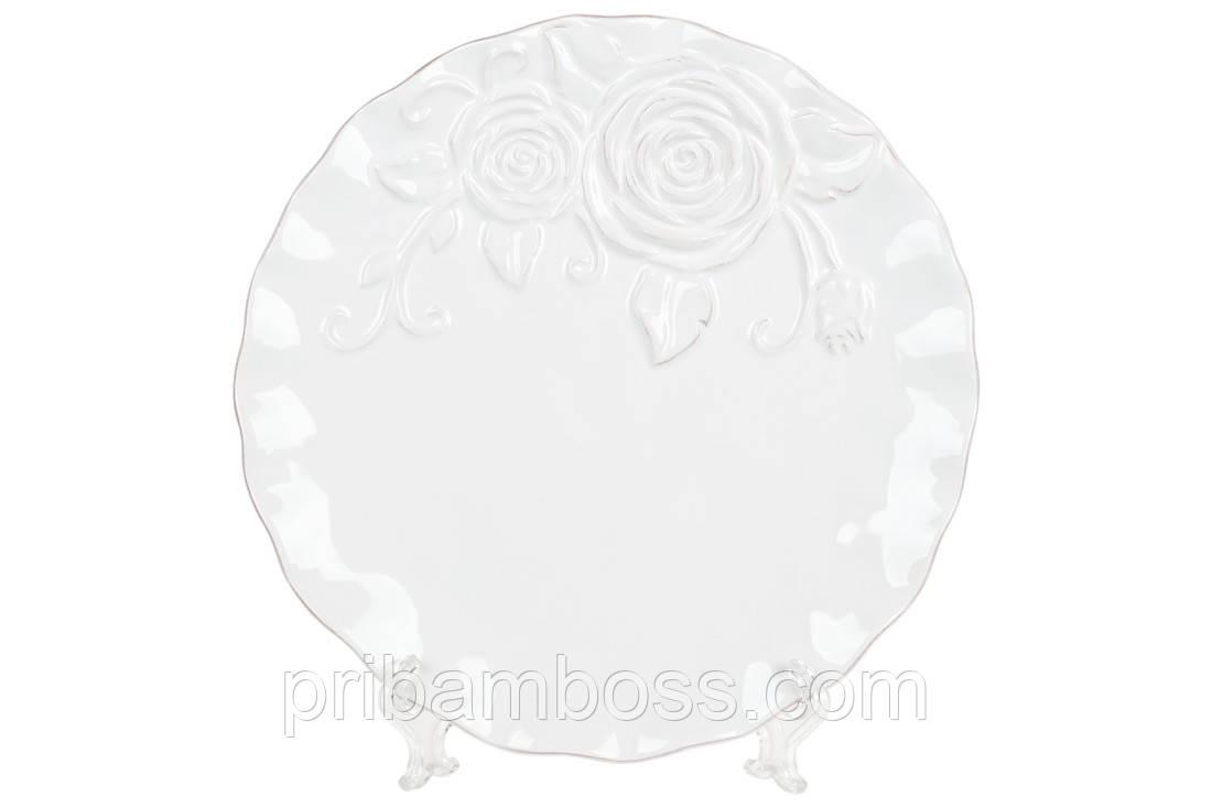 Тарелка обеденная керамическая Аэлита, цвет - белый, 21см 4 шт.