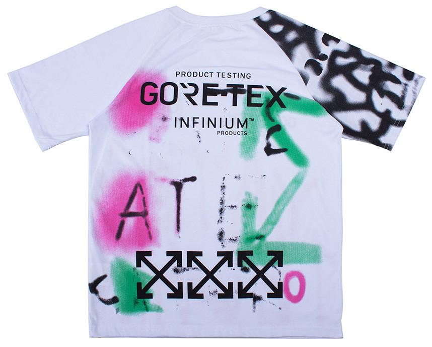 Белая футболка Off white x Gore Tex (с качественным принтом офф вайт гортекс мужская женская)