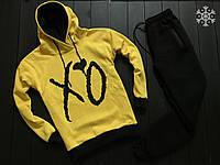 Спортивный костюм мужской ЗИМНИЙ X|O / Кофта + штаны черно-желтый