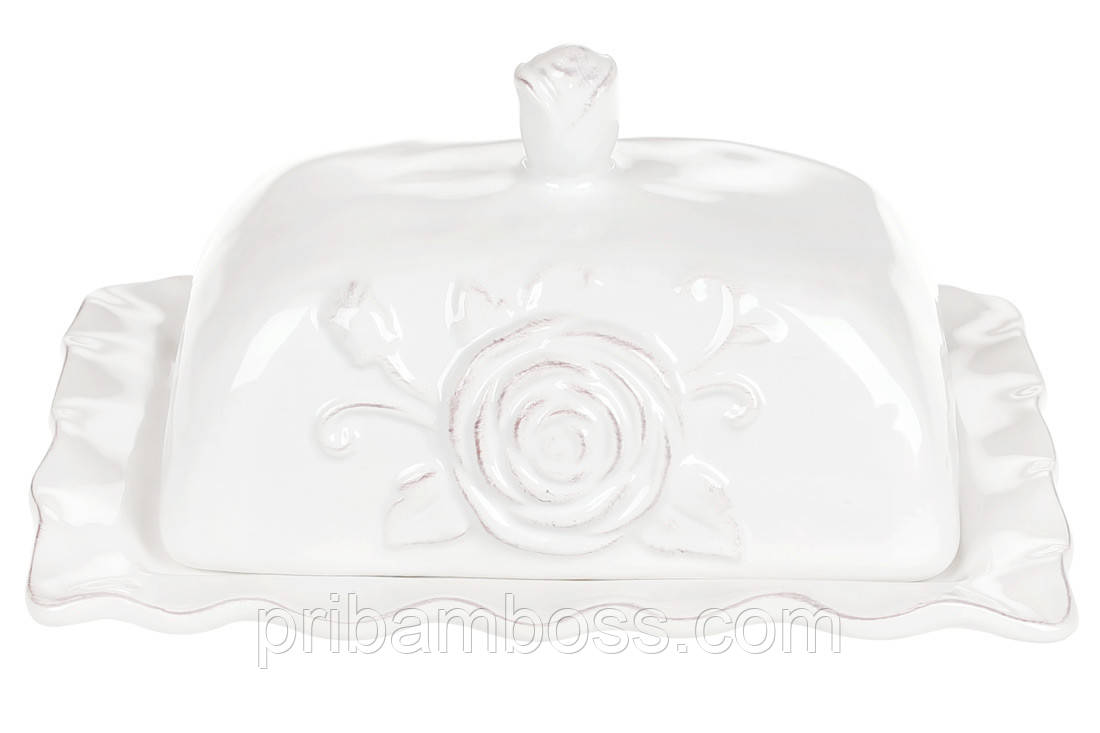 Масленка керамическая Аэлита, 19см, цвет - белый