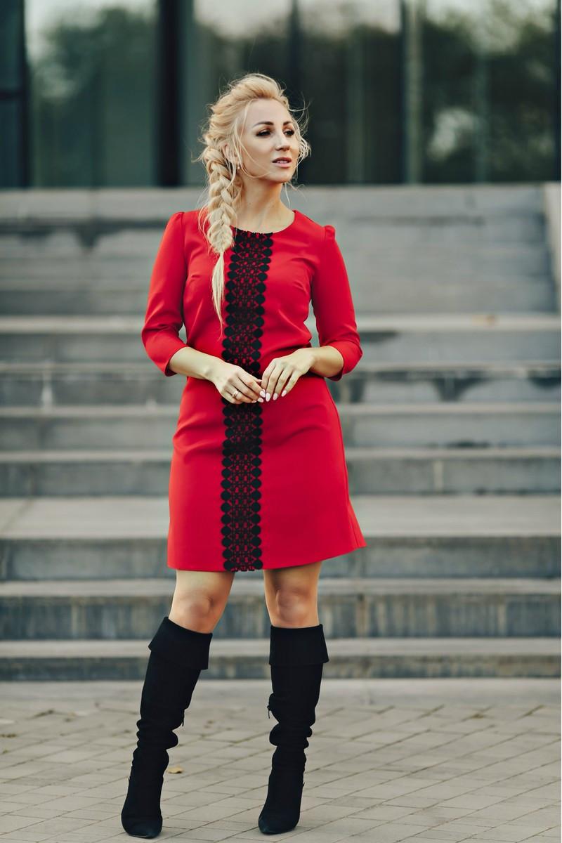Платье прямого кроя Керри красное (230-02)