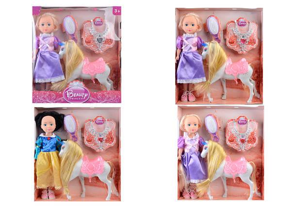 Кукла 36см L-7A/B/D принцесса с лошадью и аксес.3в.кор.37*9*41 ш..к/24/, фото 2