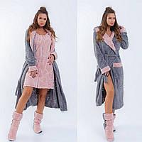 """Махровый женский домашний халат """"MAJORE"""" с тапочками в комплекте (4 цвета)"""