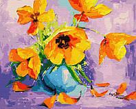 Картина по номерам на холсте Желтые тюльпаны в вазе, GX28709