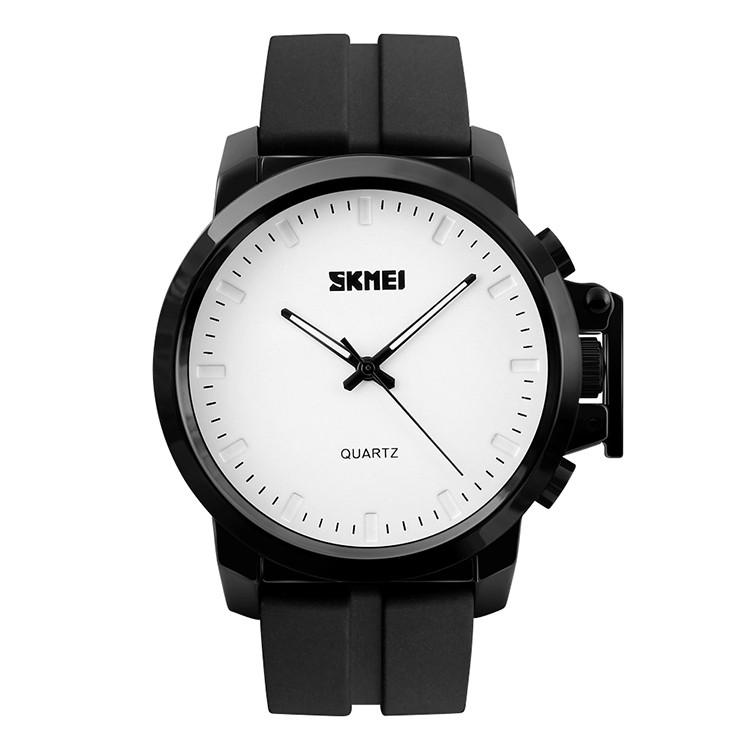 Skmei 1208 Черные с белым  мужские классические часы