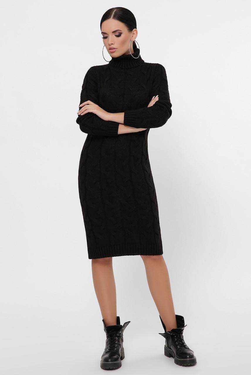 Стильное повседневное платье с воротником под горло цвет черный