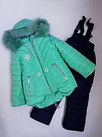 Детский зимний комбинезон комплект для девочки Снежинка мята