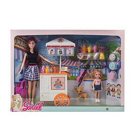 Кукла с куколкой,тележкой для мороженого,собачкой, аксес,в кор.47*7*34см /24-2/.
