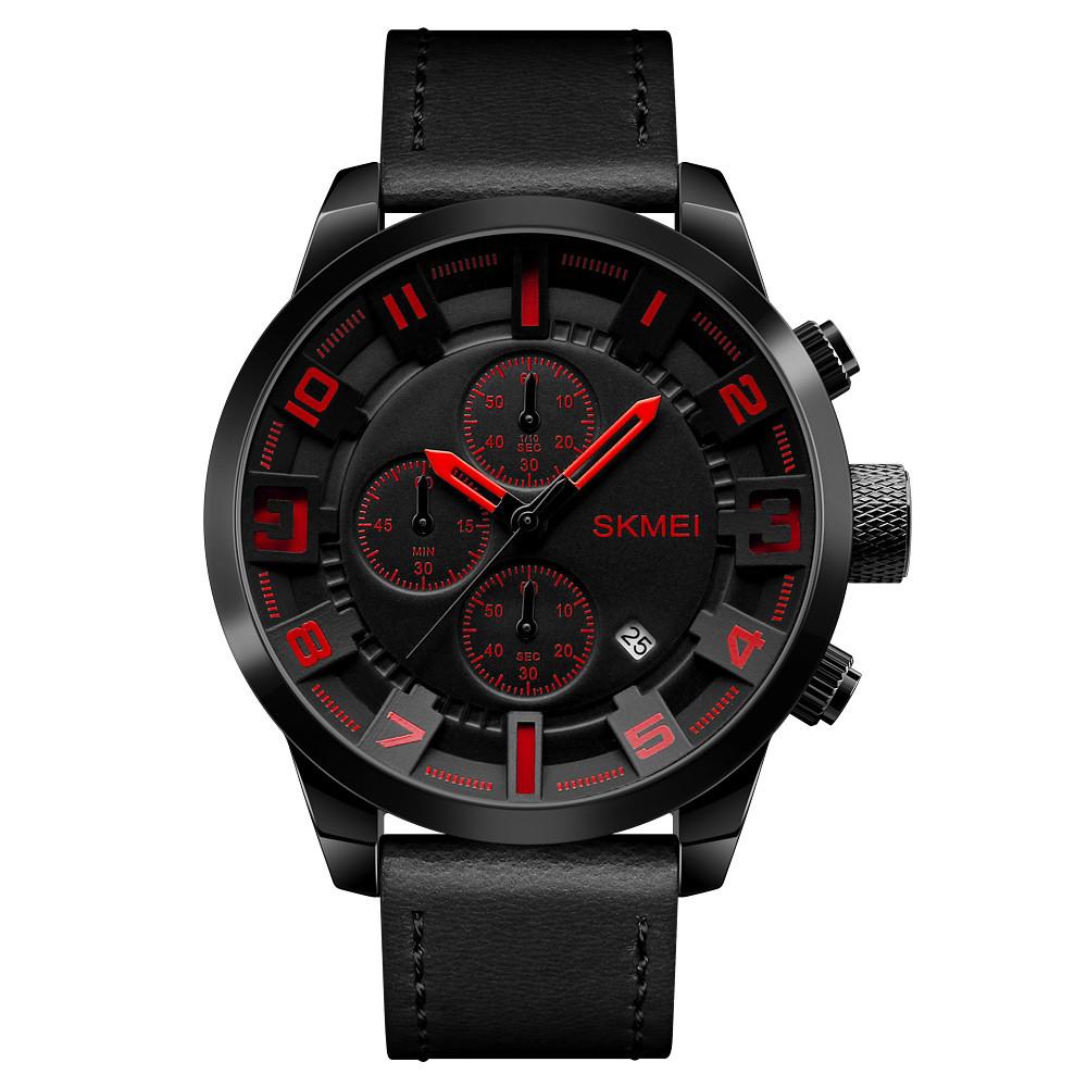 Skmei 1309 черные с красным мужские классические часы