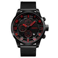 Skmei 1309 черные с красным мужские классические часы, фото 1