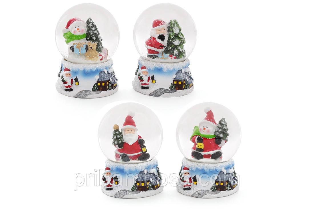 Декоративный водяной шар 6.3см, 4 вида - Санта и Снеговик