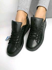 Кроссовки, Adidas Stan Smith  Женские/Мужские, Адідас, Черные, Кожаные