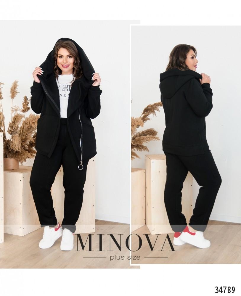 Спортивный костюм-двойка для базового повседневного гардероба №141-черный