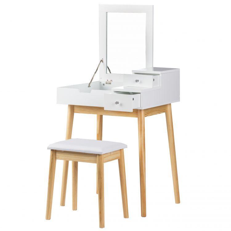 Туалетний столик GoodHome DT1202 білий з дзеркалом + табурет (9071)