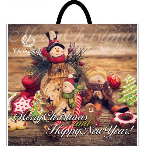 Новорічний пакет з петлевою ручкою Сніговик 380*340, 10 шт
