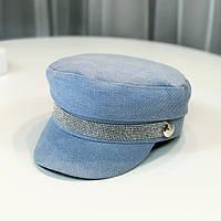 Женский картуз, кепи, фуражка джинсовая со стразами голубая, фото 1
