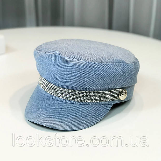Женский картуз, кепи, фуражка джинсовая со стразами голубая