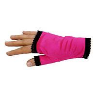 Малиновые женские перчатки-митенки атласные короткие без пальчиков