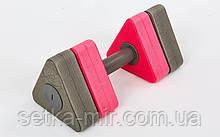 Гантели для аквааэробики треугольные 1шт Triangle Bar Float (EVA, р-р 31х14,5см, серый-розовый)