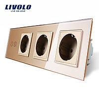 Сенсорный выключатель на две линии с тремя розетками Livolo, цвет золотой, стекло (VL-C702/C7C3EU-13)