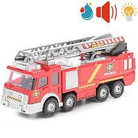 Игрушка пожарная машина с резервуаром для воды, лестницей, свет, звук эфф... Big Motors, (SY732)