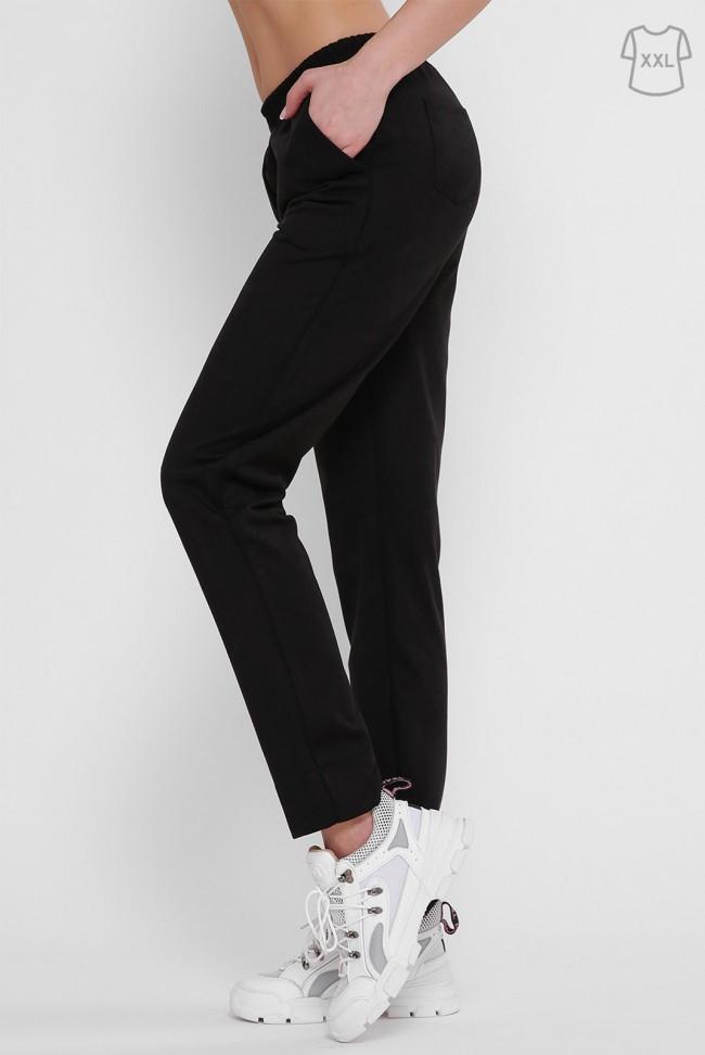 Черные женские штаны на резинке большие размеры