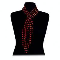 """Узкий шарф с брошью """"Роза"""" чёрный в оранжевый горошек шифоновый"""