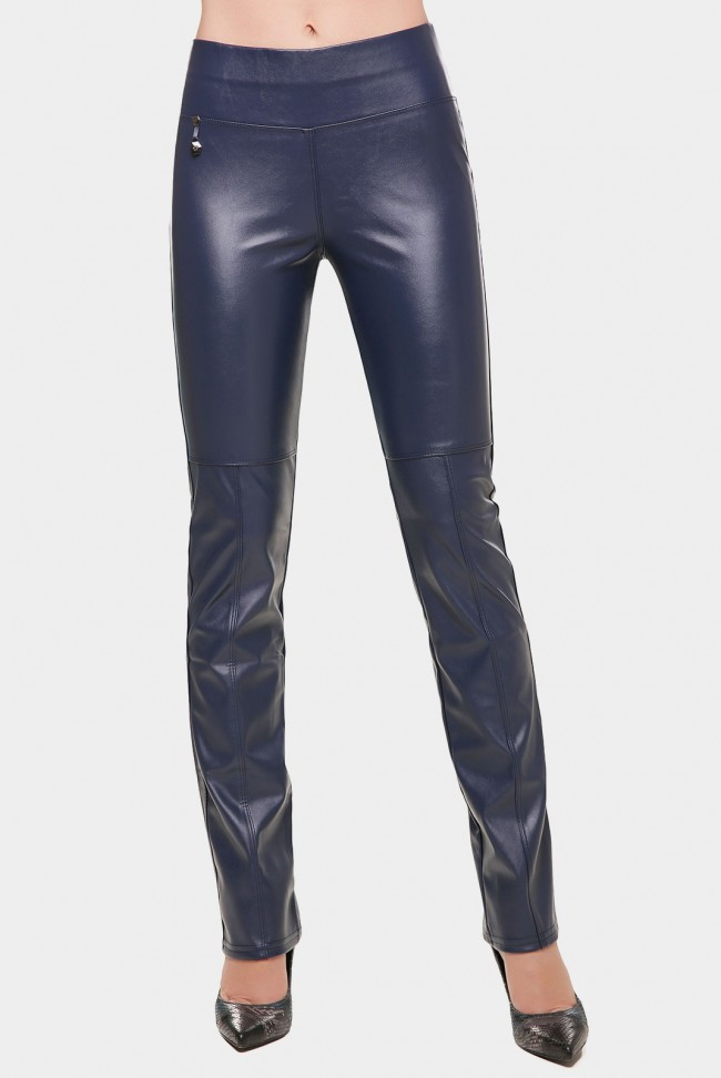 Синие женские брюки из кожи DEBORA