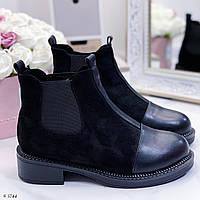 ТОЛЬКО 38 р Женские ботинки черные эко-кожа + замш ЗИМА