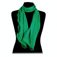 Шарф длинный узкий зелёный тонкий шифоновый