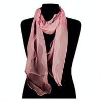Длинный узкий розовый тонкий шифоновый шарф
