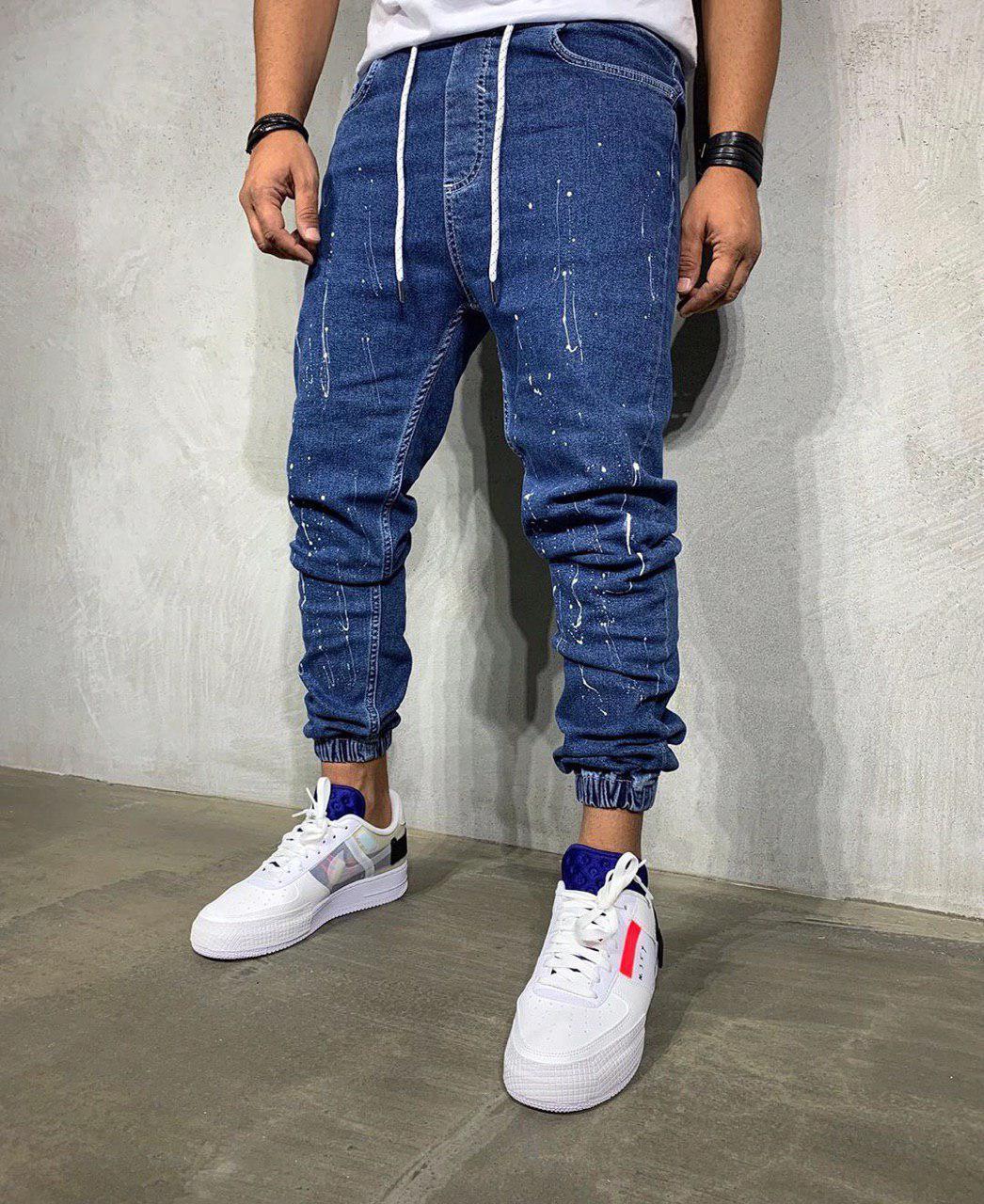 Мужские джинсы синие на манжетах MK266
