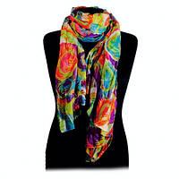 Женский яркий шарф парео  разноцветный