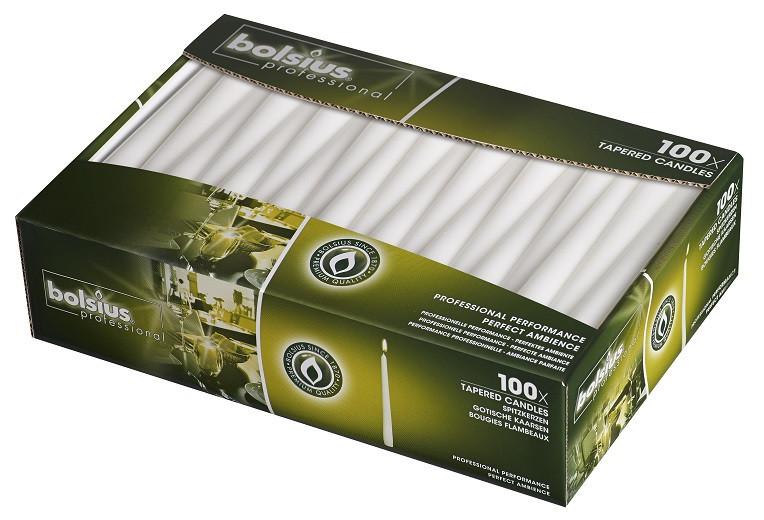 Свечи для ресторана белые Bolsius 24.5 см 100 шт