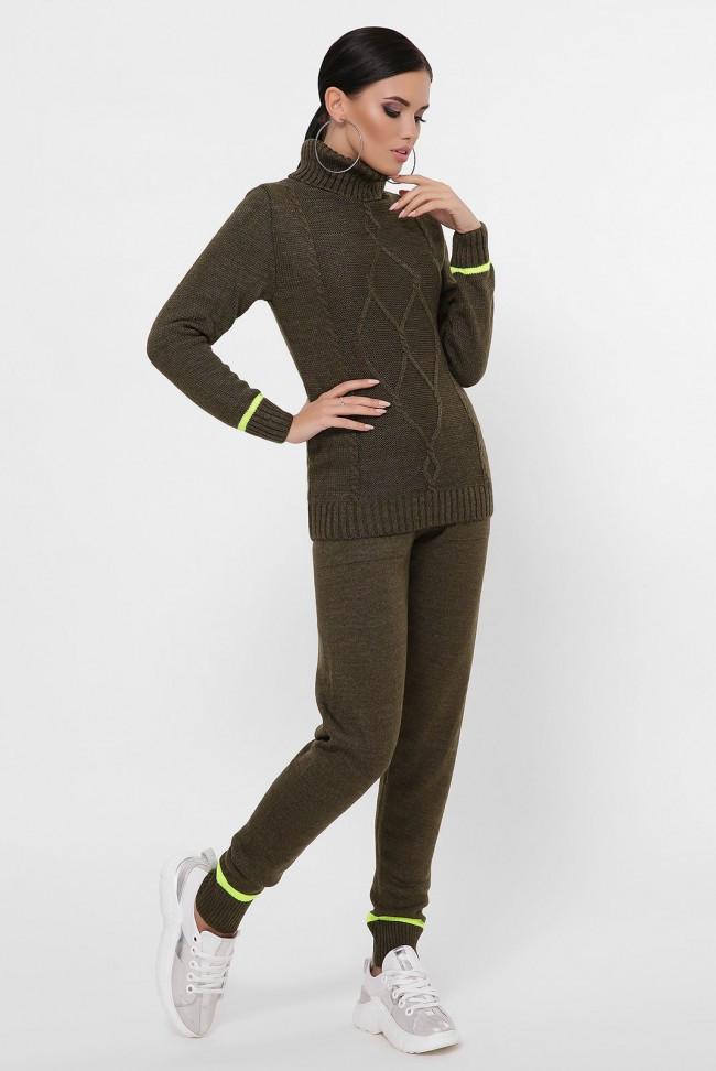 """Коричнево-зелений в'язаний костюм жіночий. Комплект з светри і штанів """"GLEN"""""""