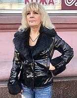 Кожаная женская куртка на подстежке с мехами