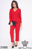 Костюм женский красный брючный большой размер