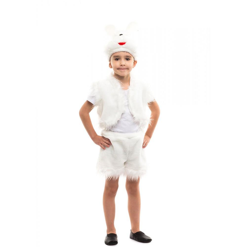 Костюм карнавальный для мальчика белый Зайка