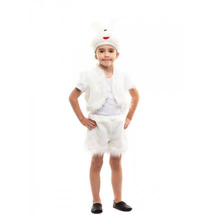 Костюм карнавальный для мальчика белый Зайка, фото 2