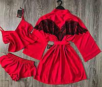 Красный набор халат и пижама( топ+шорты), хлопковая домашняя одежда.