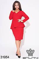 Костюм женский красный юбочный большой размер