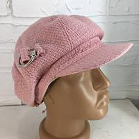 Шапка женская с козырьком розовая